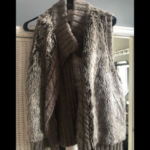 Taupe fur front zip up vest